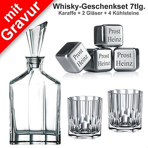 Sterngraf Whisky-Geschenkset Aspen 7tlg. mit Gravur ** Whiskykaraffe/Dekanter + 2 Whiskygläser (Marke: Nachtmann, Modell: Aspen) + 4 Whiskysteine mit Gravur (Marke: vacu vin)