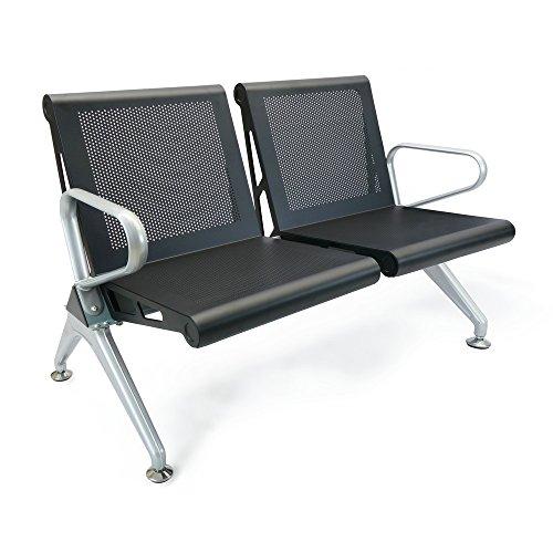 Cablematic-Chaises-sur-poutre-pour-salle-dattente-avec-2-siges-noir