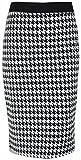 Neu Damen Vichy-druck Wackeln Rohr Röcke Damen Hundezahn Muster Lang Bleistiftrock Übergröße - Weiß, 48/50