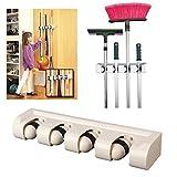 #6: Getko Magic Holder Broom & Mop Organizer Heavy Quality Mop & Broom Holder, Grey