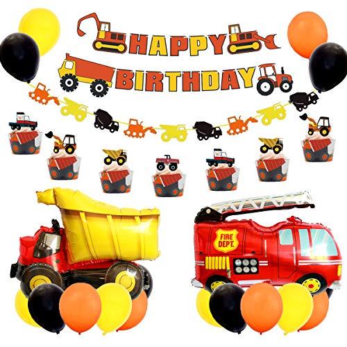 JOYMEMO BAU-Geburtstags-Party-Lieferungen Set, Bagger Bulldozer Truck Truck Party Dekorationen, Fahrzeugballons für Jungen
