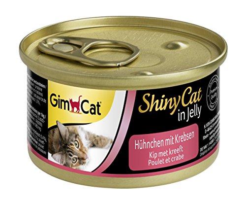 GimCat ShinyCat in Jelly – Katzenfutter mit Hühnchenfleisch in Gelee für ausgewachsene Katzen – ohne Zuckerzusatz – Hühnchen mit Krebsen – 24 Dosen (24 x 70 g)