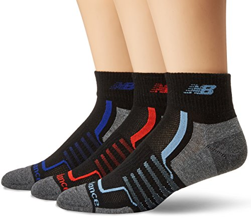 New Balance Herren Performance Ankle Socks -3 Pairs Black/Grey/Red/Blue, Large -