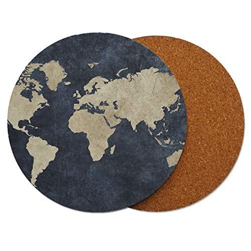 ltkarte Runder Holz-Untersetzer mit Korkrückseite 95mm x 95mm (Packung mit 8) ()