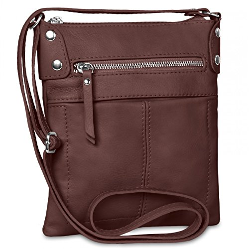 CASPAR Damen Ledertasche   Umhängetasche   Messenger Bag mit vielen Fächern  aus weichem italienischem Leder - 947e74dadb