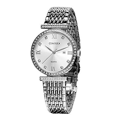 Comtex Montres pour femmes Swiss Quartz avec bracelet en acier inoxydable Diamond Bezel Date Affichage analogique