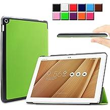Infiland ASUS ZenPad 10 LTE Z300C Funda Case-Ultra Delgada Tri-Fold Smart Case Cover PU Cuero Smart Cascara con Soporte para ASUS ZenPad 10 (Z300C) (10,1 pulgadas) SM-T530 SM-T535 Tablet-PC (con Auto Reposo / Activación Función)(Verde)