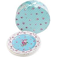 """Plato de postre de porcelana fina China lateral para tartas, Rose Blue, 8"""" 20cm"""