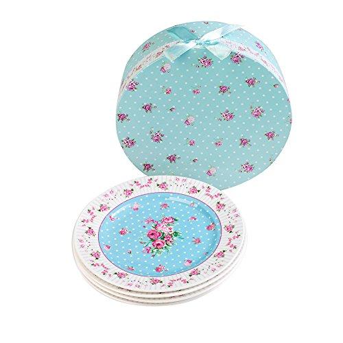 Porzellan Fine China Seite Kuchen Dessertteller, Rose Blue, 8