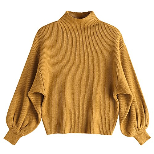 ZAFUL Damen Mock Neck Lantern Sleeve Strickpulli Pullover Winter/Herbst Beiläufig hoher Hals Langarm Knitwear Bluse Jumper Outerwear?Yellow? Mock Jumper