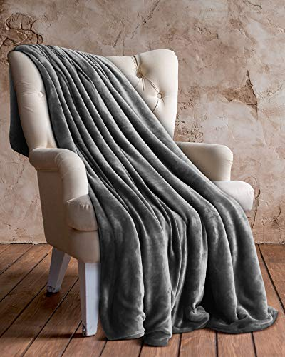 Utopia bedding coperta in pile di flanella (grigio, 127 x 152 cm) - tessuto in microfibra di peluche - coperta leggera, morbida e calda per divano