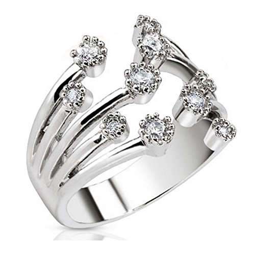 Bungsa® Mittelring Zirkonia Kristallfontäne Multikristall Rhodium platiniert Zehenring für Damen (Zehring Fussschmuck Fussring Toe-Ring Nail Ring Mittelring Nagelring biegbar verstellbar)
