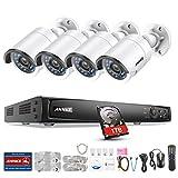 ANNKE 4CH 1080P POE NVR Überwachungssystem, Netzwerk Video Recorder + 4 * 1080P IP Überwachungsskameras mit 1TB Überwachung Festplatte, POE Plug und Play, Bewegungserkennung mit E-Mail Alarm
