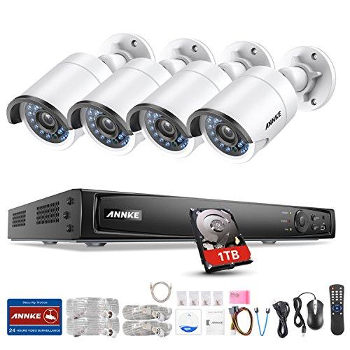 ANNKE 8CH 6MP POE NVR Überwachungssystem, Netzwerk Video Recorder + 4 * 1080P IP Überwachungsskameras mit 1TB Überwachung Festplatte, POE Plug und Play, Bewegungserkennung mit E-Mail Alarm