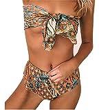 VECDY Damen Bikini, Bikinis Bandage Sexy Bikini Push-Up Schulterfrei Einteiliger Regenbogen-Badebekleidungs Gepolsterter Beachwear
