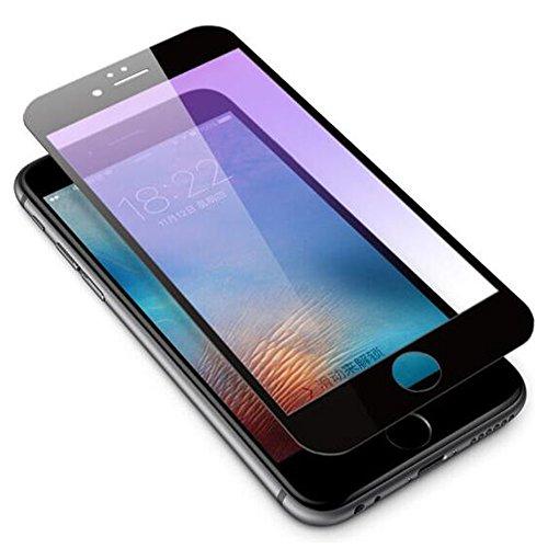 HUKTOR iPhone 6/6s Plus Anti-Blau licht Augenschutz Schutzfolie mit Kohlefaser Weich Kante 3D-Curved Vollständige Abdeckung Panzerglas Displayschutz Anti-Fingerabdruck Gehärtetes Glas,5.5zoll,Schwarz