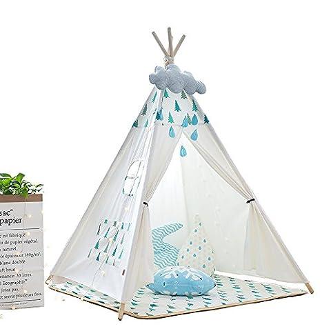 TING- Kinder Spielzelt Blau und Grün Kleine Kiefer Cartoon Druckmuster Indische Zelt Vier Ecken der Zelte Indoor Outdoor Gartenzelt 140cm Blau (enthält nicht Spielzeug und Ornamente)