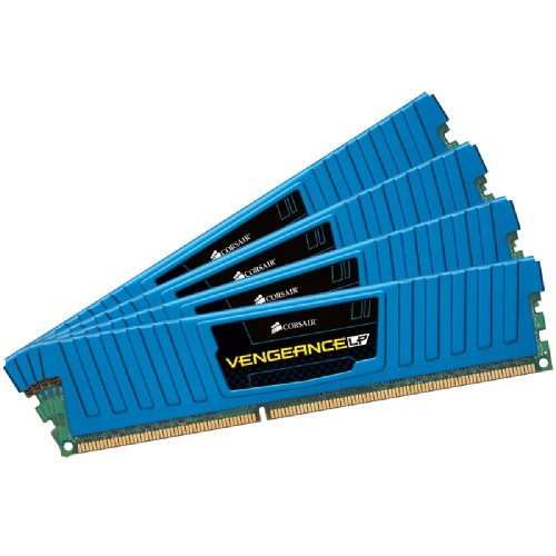 Corsair Vengeance Low Profile - Módulo de Memoria XMP de Alto Rendimiento de 32 GB (4 x 8 GB, DDR3, 1600 MHz, CL10), Azul (CML32GX3M4A1600C10B)