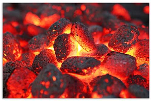 Wallario Herdabdeckplatte/Spritzschutz aus Glas, 2-teilig, 80x52cm, für Ceran- und Induktionsherde, Motiv Glühende Kohlen im Kamin