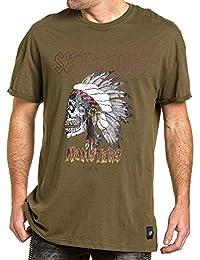 Sixth June - Tee-shirt homme kaki imprimé indien monsters