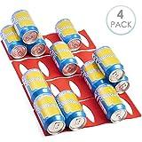 4 Piezas Botellero Soporte Botella Frigorifico - Silicona Flexible y Antideslizante - Organizador y Apilador para Cerveza Lata y Vino - Ahorradores de Espacio en Gabinete Cocina, Nevera/Refrigerador.