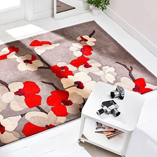 Hand Geschnitzt, Modernes Design (Modernes Infinite Blossom Hand geschnitzt Floral Design Teppich, rot-80x 150cm)