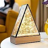He-shop Nachtlicht Hauptdekorationen Nordic Feuer Baum Silber Blume Pyramide LED Lichter Geburtstagsgeschenk Kreative Kleine Tischlampe