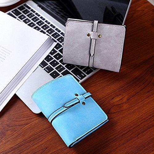 Donne Breve Portamonete Borsa Ragazze Portafoglio Card Holders Mini Frizione Purse Grigio Scuro Azzurro
