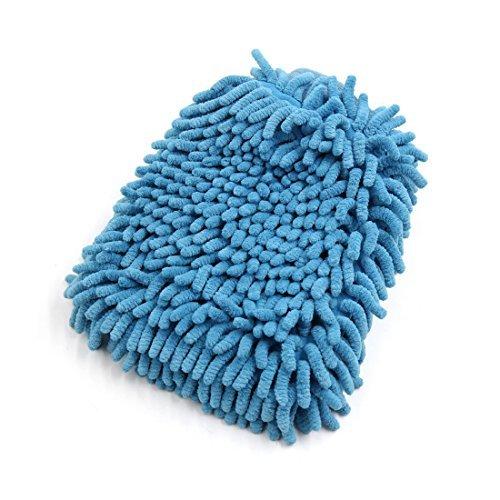 Preisvergleich Produktbild DealMux Fahrzeug-Double Side Mikrofaser Waschhandschuh Putzhandschuh Schrubber Blau