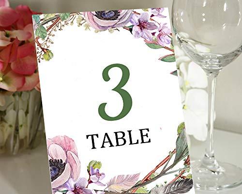 Darling Souvenir Weiß Tisch Nummer Blumen- Elegante Rahmen Tabelle Karten DIY Hochzeit dekorative Zahlen Packung mit-5 x 7 Zoll (Packung mit 1to40) (Diy Hochzeit Tisch Zahlen)