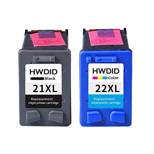 HWDID remanufacturados cartuchos de tinta de repuesto para HP 21 XL negro (C9351AE) cartucho HP 22 X L Tricolor (C9352AN) para HP PSC 1410 Ai Series, Deskjet 3910,3915,3918 …
