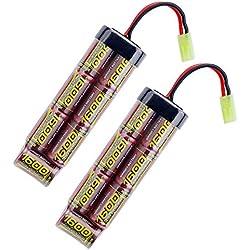 melasta 8.4v Batterie Airsoft 1600mAh NiMH Batterie avec connecteur Mini Tamiya pour Pistolets Airsoft MP5, Cicatrice, M249, M240B, M60, G36, M14, RPK, PKM