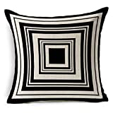 G.T. Baumwolle Leinen schwarz und weiß werfen Kissenbezug 45,7x 45,7cm Black-04
