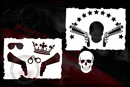 Airbrush Schablone Totenkopf Skull Gangster 2 Tlg. -