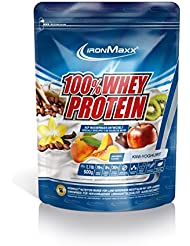 IronMaxx 100% Whey Proteinpulver / Wasserlösliches Whey Protein für Eiweißshake / Proteinshake mit Kiwi-Joghurt Geschmack / 1 x 500 g Beutel