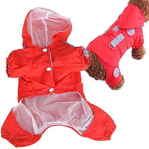 Haustier Hund wasserdichtes Polyester Regen Slicker Regenmantel Haustier Stoff Kleidung Welpe Hoodie Kleidung Mantel Bekleidung Zubehör mit Hut Rot Grösse XL