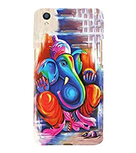FUSON Lord Ganesha Paint Style 3D Hard Polycarbonate Designer Back Case Cover for Oppo F1 Plus :: Oppo R9
