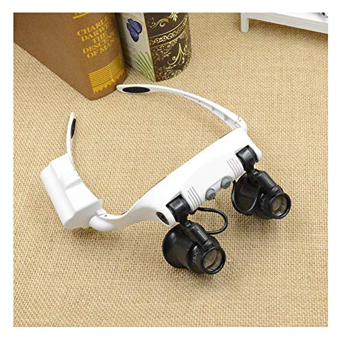 YM09 Praktisch und bequem Freisprech-Leselupen mit LED-Licht, Stirnbandlupe Kopfmontage-Lupenbrille mit Licht for Arbeiten in der Nähe Juwelier Lupe 10x15x20x25x 4 Linsen (Juwelier Der)