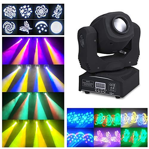 Lilideni 60W Mini LED Köpfe Moving Stage Light 8 Gobos & Total 14 Farben RGBW DMX512 Beam Spotlight 9/11 Kanal Auto-Run Sound-aktivierter Master-Slave für DJ Hochzeitsfeier Dance Bar Beleuchtung