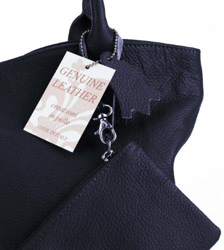 Made Italy , Cabas pour femme 40x33x14 cm (BxHxT) Bleu - Dunkelblau