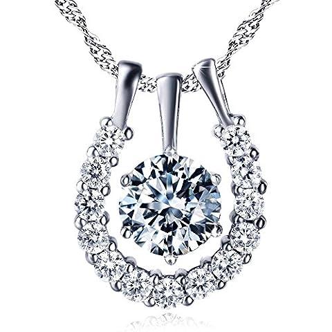 Élégant Argent sterling zircon Diamant fer à cheval Pendentif Collier pour Femme 45,7cm