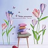 WandSticker4U- XL Wandsticker Blumen TULPEN in Lila & Rosa | Wandbild: 150x108 cm | Wandtattoo Blüten Schmetterlinge Pflanzen | Deko für Wohn-Schlafzimmer Kinderzimmer Küche Flur