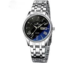 Reloj de cuarzo de negocios con banda de acero Dial azul grande Reloj de pulsera de