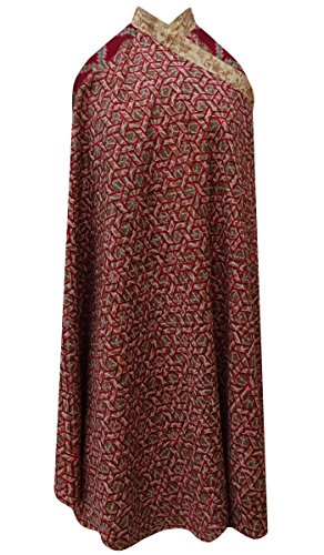 Geometrisches Muster Rot Reine Seide Frauen Vintage Saree Reversible Hippie Rock Wickelkleid (Wrap-around-rock-muster)