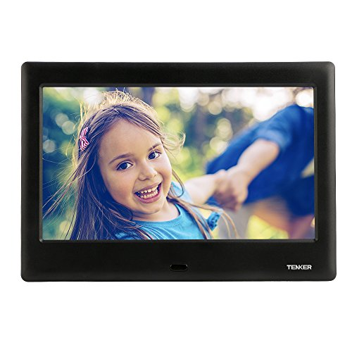TENKER 8-Zoll HD Digitaler Bilderrahmen IPS LCD Display mit Autodrehung/Kalendar/Uhr Funktion, MP3/Foto/Videoplayer mit Fernbedienung (Schwarz) (8-Zoll)