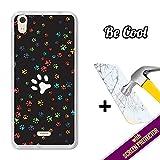 BeCool Coque Gel pour MEO StarAddict 6, [ +1 Protecteur d'écran Verre Trempé ] Coque Etui Housse Silicone TPU, protège et s'adapte a la perfection a ton Smartphone - Empreintes de chien.