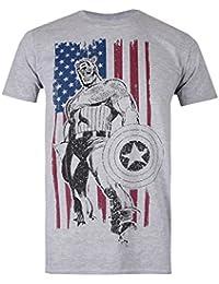 Marvel Men's Captain Flag T-Shirt