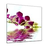 Glasbild - Orchidee IV - 30 x 30 cm - Deko Glas - Wandbild aus Glas - Bild auf Glas - Moderne Glasbilder - Glasfoto - Echtglas - kein Acryl - Handmade