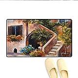 Soefipok Alfombra de baño Terraza Flores y jardín Casa Grecia con Ventana rústica Pintura al óleo Felpudo Exterior Verde Marrón y durazno
