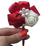 Fouriding Boutonniere Flor Novio Broches de Boda Flor de Perla Rosa Para Hombres de Negocios Disfraces Mode Mujeres boda 2 pcs